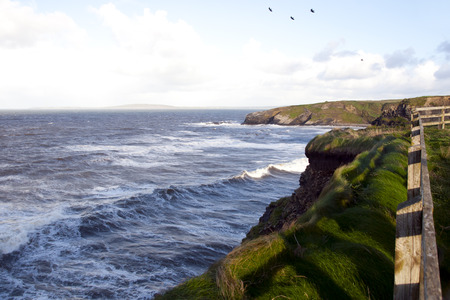 ballybunion: view from the fenced path along cliff edge in Ballybunion county Kerry Ireland