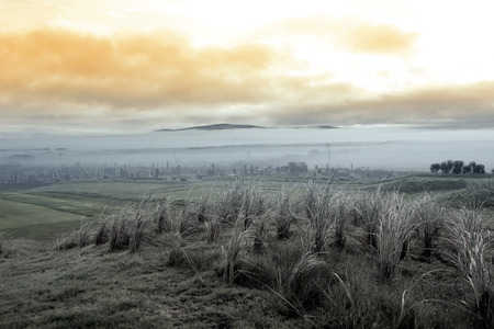 Fog rolling into the graveyard next to Ballybunion golf course in county Kerry Ireland