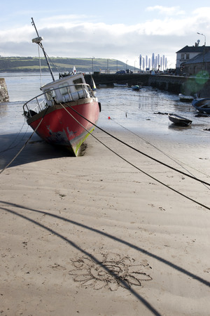 youghal: fishing boats moored in the bay of Youghal county Cork, Ireland