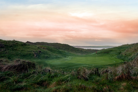 linkage: view of the Ballybunion links golf course in county Kerry Ireland