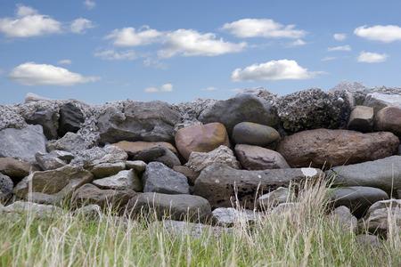 old grey stone wall in county Kerry Ireland on the wild atlantic way photo