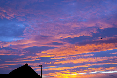 shepards: beautiful sunset with streetlight and rooftop in the foreground