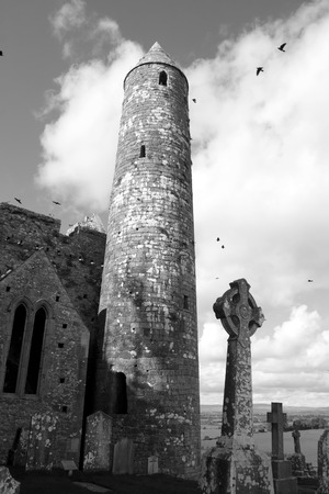 county tipperary: the historic rock of Cashel landmark in county Tipperary Ireland in black and white