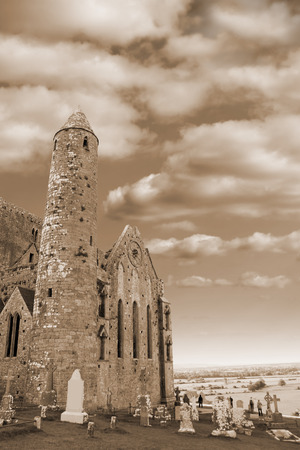 county tipperary: the historic rock of Cashel landmark in county Tipperary Ireland in sepia