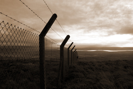 barbed wire fencing protecting a site on the Knockanore hill in Ballybunion county Kerry Ireland photo