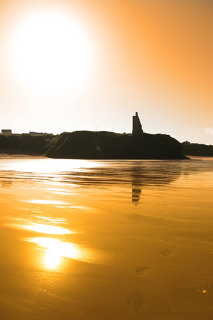 ballybunion: sunset view of the castle beach and cliffs in Ballybunion county Kerry Ireland Stock Photo