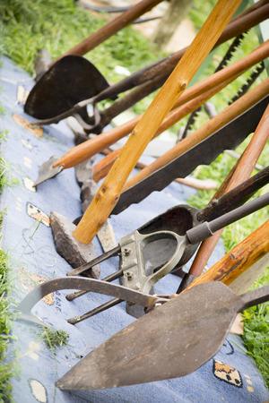 bygone: old antique farming tools from a bygone age Stock Photo