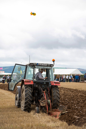 ploughing: tractors competing in the irish national ploughing championships in ireland