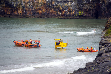 sea cliff: Ballybunion Sea & Cliff Rescue Service at ballybunion cliffs castle and beach of  county kerry ireland