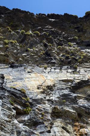 cliff face: ballybunion rocky cliff face and sky
