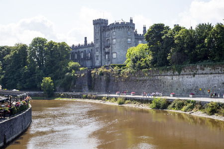 cafe and riverside walk next to the kilkenny castle in ireland