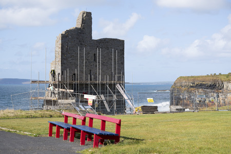 ballybunion: ballybunion castle surrounded by scafolding while under repair