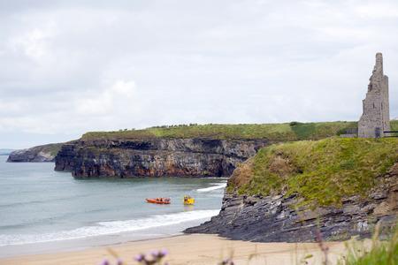 rescue service: Ballybunion Sea  Cliff Rescue Service at ballybunion cliffs castle and beach of  county kerry ireland