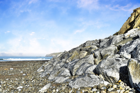 boulders: beautiful beach and boulders at ballybunion  in ireland Stock Photo