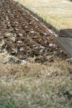 ploughing: furrows of a plough from a ploughing competition in ireland