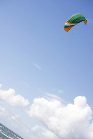 boarders: kite boarders kite in lovely sky in ballybunion county kerry ireland Stock Photo