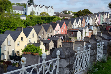 view of cobh town houses in county cork ireland from the catherdral Stock Photo