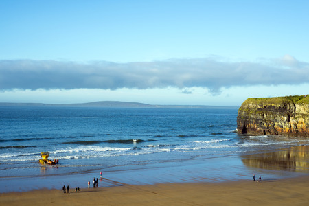 motor launch: a semi-submersible vehicle towing sea rescue craft to the sea for launching in Ballybunion ireland Stock Photo