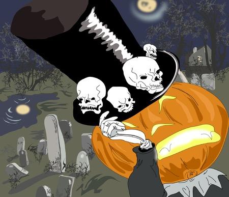 top hat: Halloweens pumpkin with top hat on the graveyard