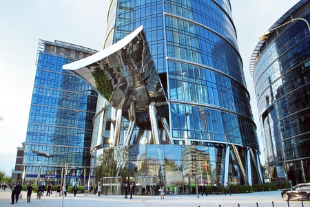 progressive: Warsaw, Poland.12 May 2016 Warsaw Spire is a new office building. It is a prestigious building in the heart of Warsaw.