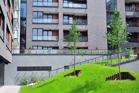 apartment block: Modern Apartment Block Stock Photo