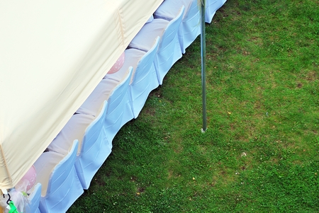 public waste: garden tent ready to party