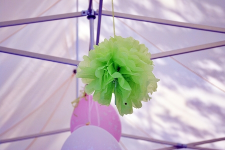 pompom: Tissue pompoms for a party