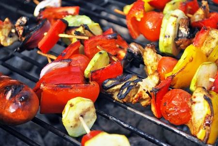 shashlik: Grilling shashlik on barbecue grill. Selective focus