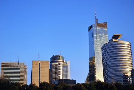 Warsaw, Poland. 8 August 2016. View of the modern skyscrapers in the city center.Warsaw skyline.