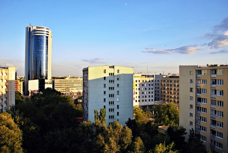 reverberation: Warsaw, Poland. 11 August 2016. View of the modern skyscrapers in the city center.Warsaw skyline.
