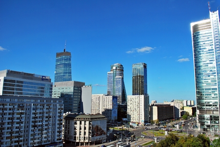 agglomeration: Warsaw, Poland. 26 August 2016. This is a view of Warsaw Downtown.
