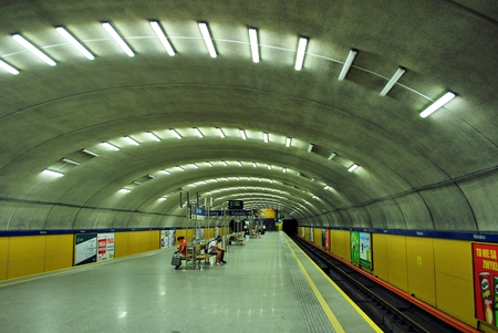 underground train station with a view of the tunnel entrance. Editorial