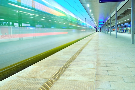 deserted: deserted platform of a modern railway station Stock Photo