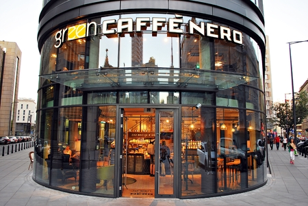 caffe: Warsaw, Poland. 15 September 2016. The exterior of caffe nero on September 2016