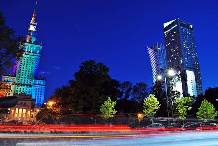Warsaw, Poland. 15 September 2016 Downtown Warsaw at night.