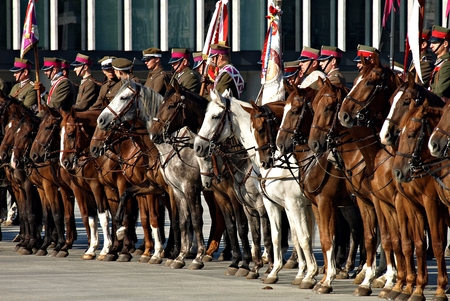 historical events: WARSAW, POLAND. 6 SEPTEMBER 2014.Ceremonial guard during celebrations of the Polish Armed