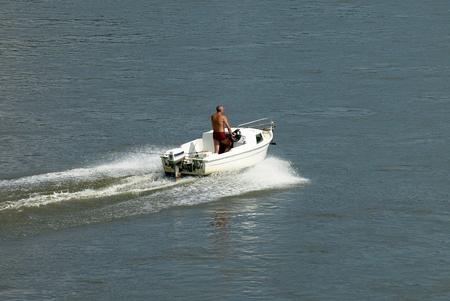 motorboat: Motorboat on the river