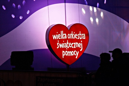 Warsaw, Poland. 10 January 2016. Red heart, a symbol of social charity. blurred background