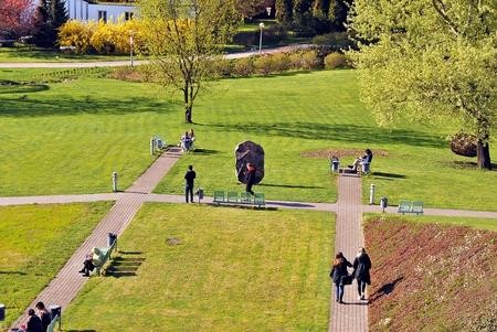 Warsaw, Poland. 20 April 2017. Public garden of the Warsaw University Library
