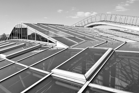 faade: Modern office building. Black and white