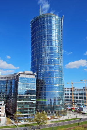 Warsaw.Poland. 8 April 2017. Warsaw Spire. Modern office building.Warsaw Spire is a perfect meeting spot for business and leisure. A modern landmark and a powerful symbol of Warsaw's energy.