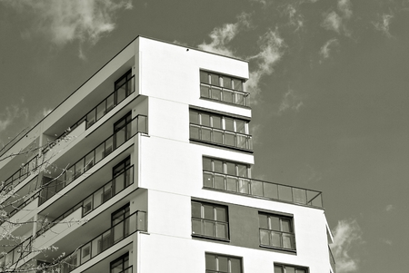 outdoor lighting: Modern, Luxury Apartment Building. Black and white