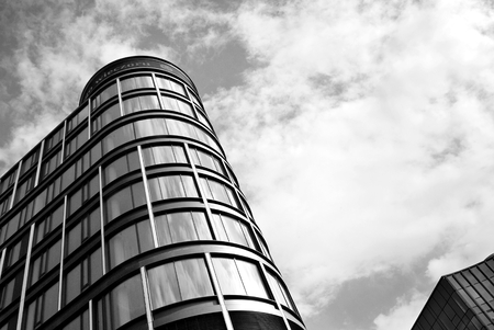 property management: Modern office building. Black and white