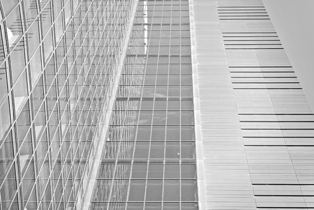property management: Modern office building. Architectural details of modern building. Black and white.
