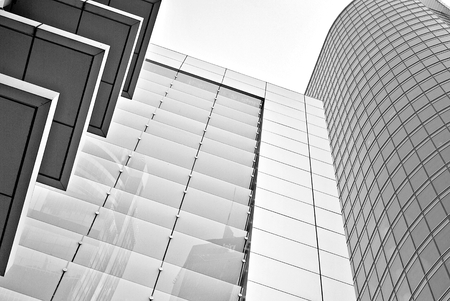 faade: Modern office building. Architectural details of modern building. Black and white.