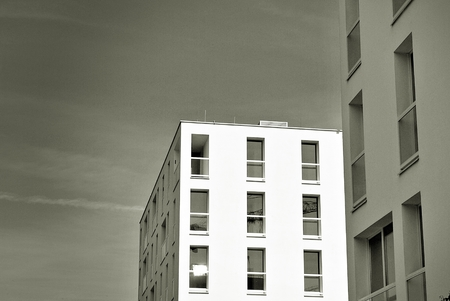 faade: Modern, Luxury Apartment Building. Black and white