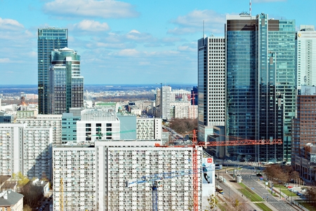 26: Warsaw, Poland. 26 March 2017. Panoramic aerial view of Warsaw.