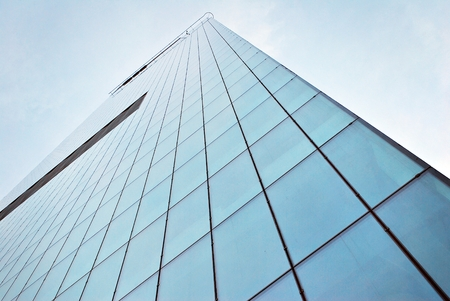 Panoramic view of high rise building with skyscrapers Stock Photo