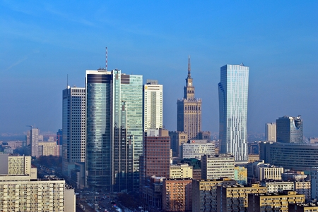 Warsaw, Poland. 31 January 2017.Warsaw downtown aerial view