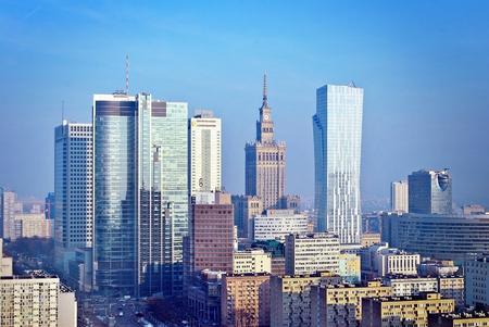 ワルシャワ、ポーランド。1 月 31 日 2017.Warsaw ダウンタウン空中ビュー